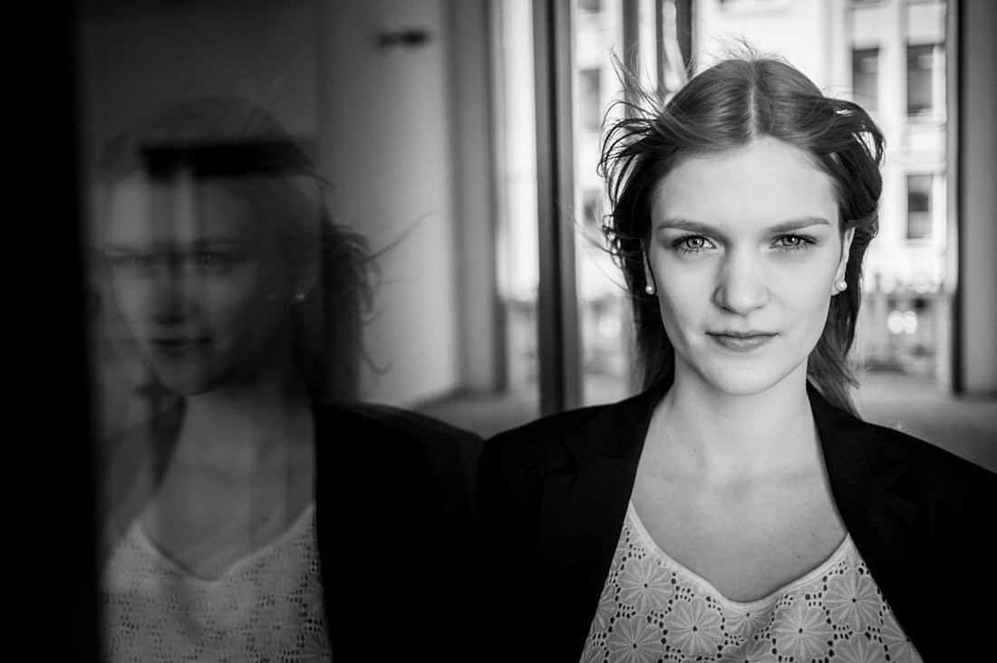 Schwarz Weiß Bild Portrait Model